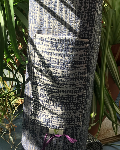 Luxurious brocade yoga mat bag detail