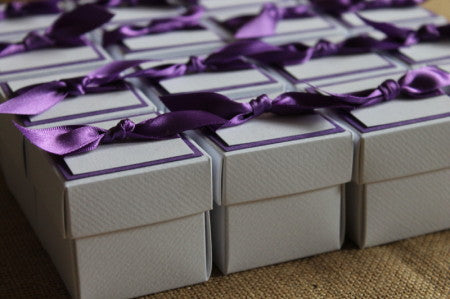 Square Box Favour Boxes with Lid decorated with your chosen design.