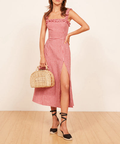 Gingham Picnic Midi Dress