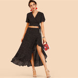Ruffled Wrap Two Piece