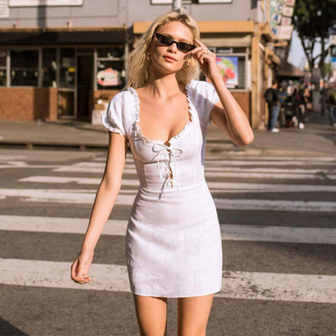 Lace-up Tea Mini Dress