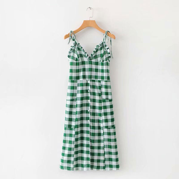 Green Plaid Spaghetti Dress