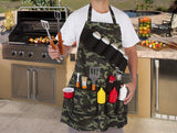 Apron - Cool Tactical Camouflage BBQ Grill Apron With Tool Pockets And Beer/Spice Bottles Holder!