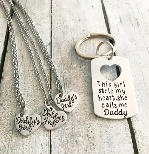 Jewelry & Watches - Daddy And Daughter (Keychain And Necklace) Gift Set - Perfect Gift For Dad
