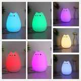 LED Color Changing Soft Silicone Cat And Raindrop Night Lights