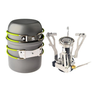 Outdoor Camp/Hiking/Backpacking/Backcountry Cookware Set (2 Pots + Piezo Ignition Canister Stove)