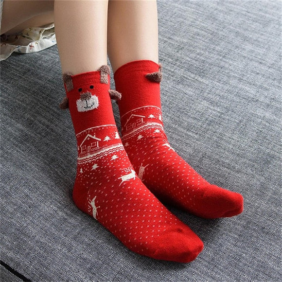 Warm Winter Cute Deer Women's Christmas Socks