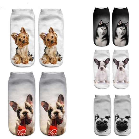 3D Print Dog Design Unisex Socks - Bulldog, Yorkies, Chihuahuas and More