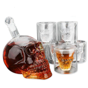 Skull Head  Whiskey & Spirit Decanter With 6 Double Wall Glasses