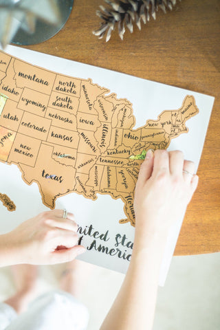 Unique United States Of America Watercolor Scratch Your Travels™ Map - USA Travel Lover Gift