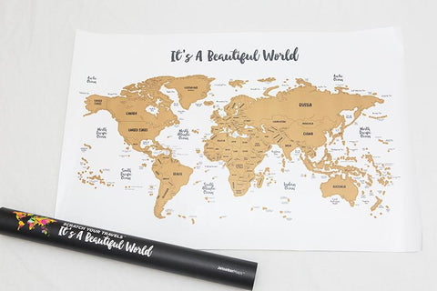 Wanderlust Scratch Your Travels™ Watercolor World Map (30x20in) - Worldwide Poster Gift