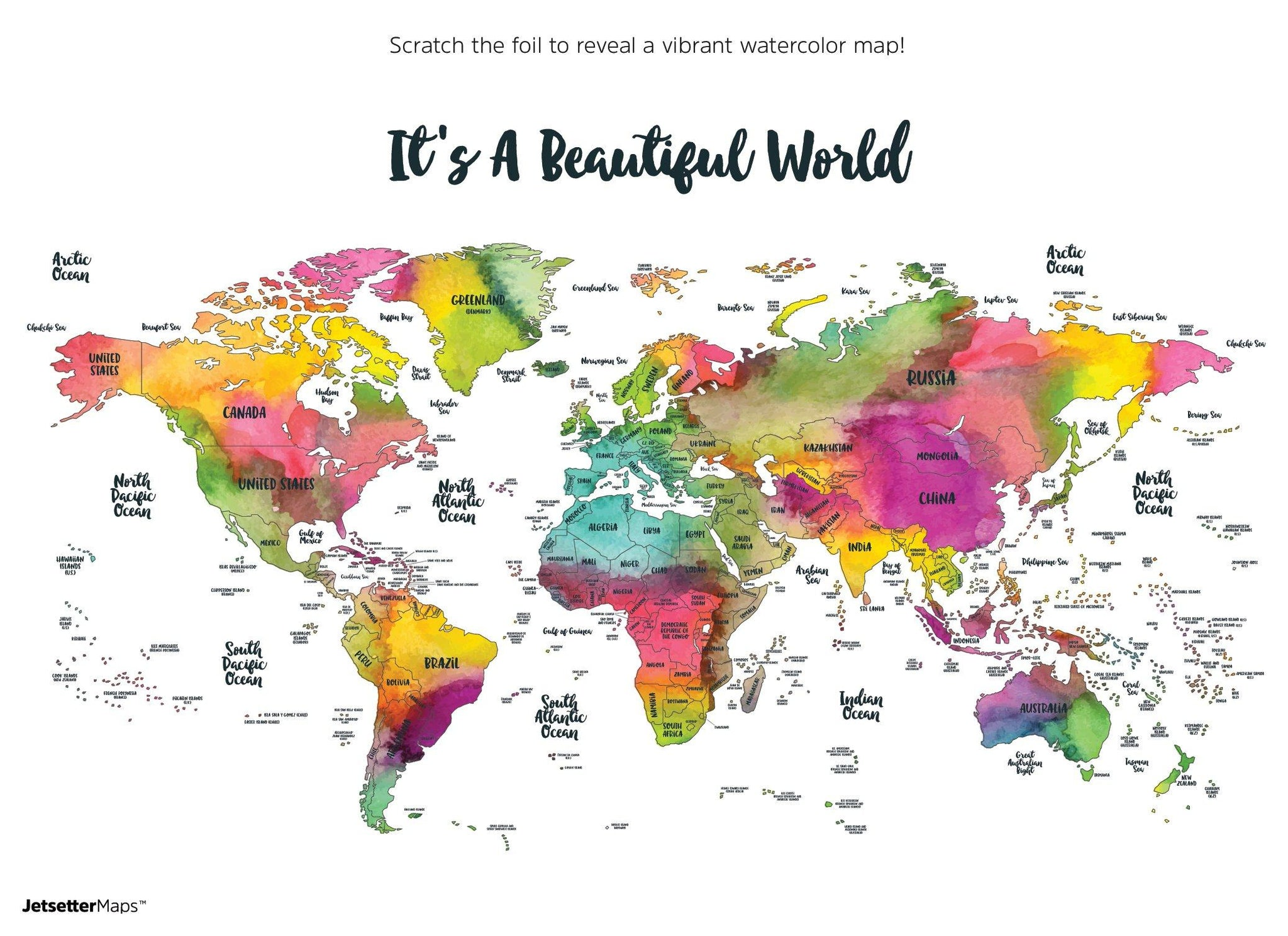 Frameable World Map.Wanderlust Scratch Your Travels Watercolor World Map 30x20in