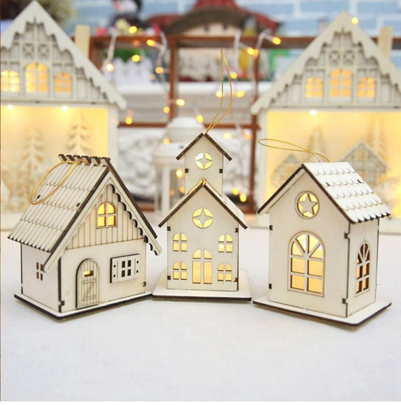Wooden Christmas Tree Cabin Ornaments With Built-in LED Lights