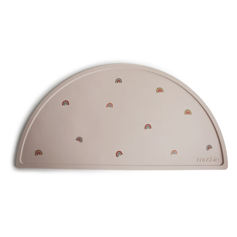 MUSHIE - Set de table en silicone Beige Rainbow