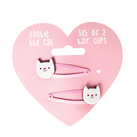 Ensemble de 2 barrettes Chat Rose