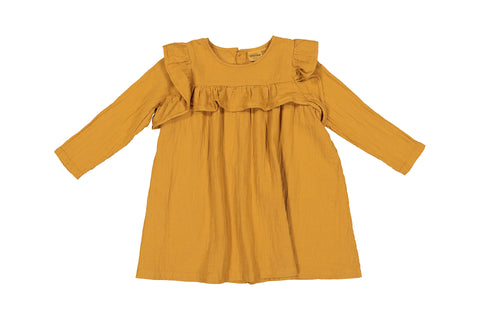 Robe Gisele Mustard en double gaze de coton moutarde