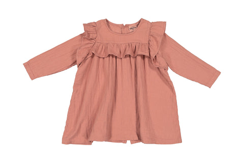 Robe Gisele Terracotta en double gaze de coton vieux rose