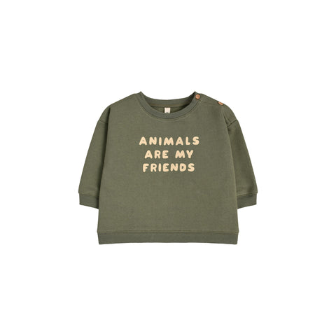 ORGANIC ZOO - Sweatshirt Animals are my friends Kaki