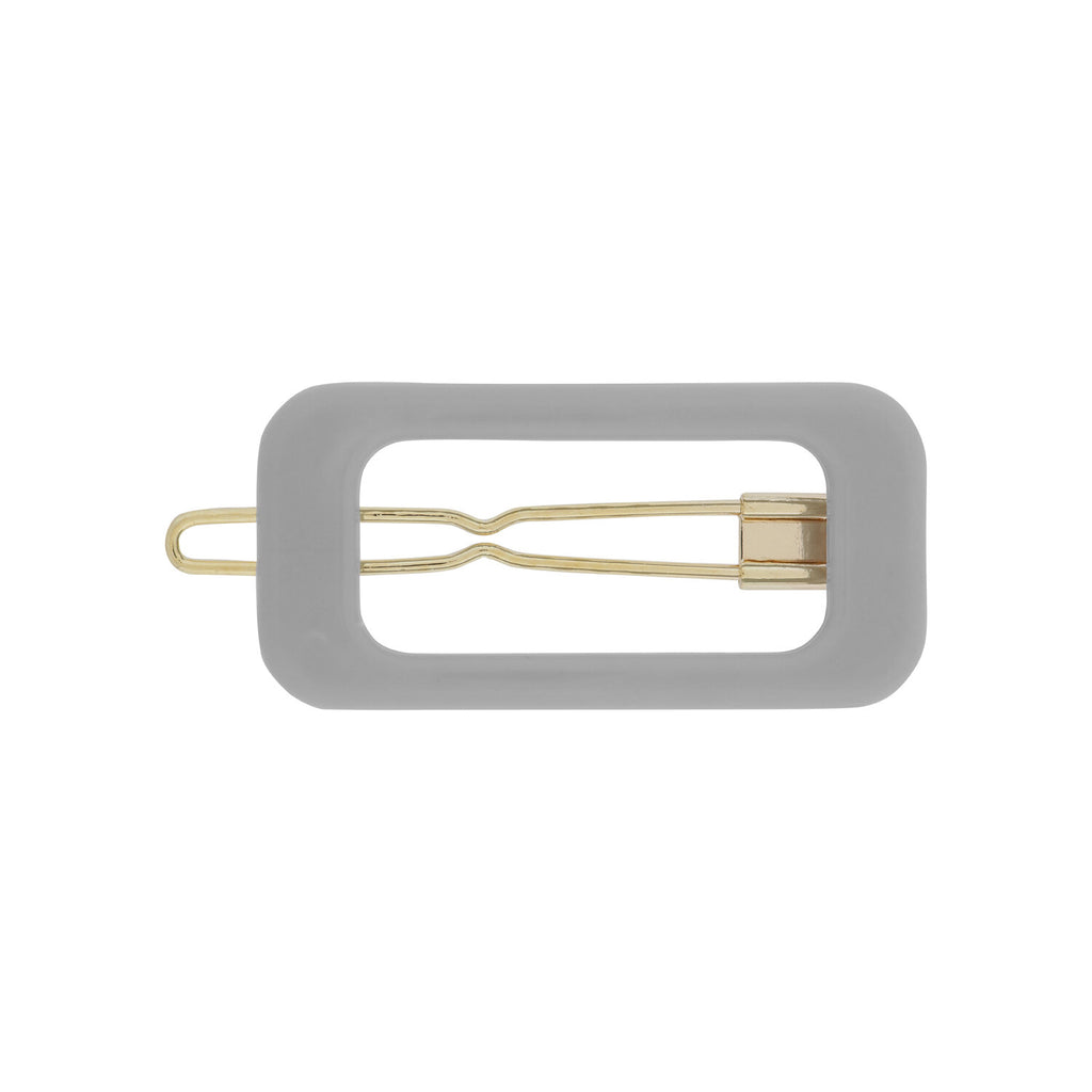 Kanel - Barrette clip grise Rectangle Cool Grey
