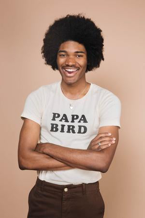 tshirt homme coton écru inscription papa bird