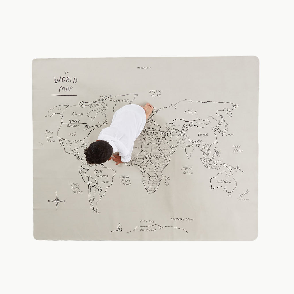 GATHRE - World Map la Toile multi-usages Carte du Monde Midi +