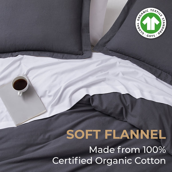 100% Organic Cotton Flannel Duvet Cover Set