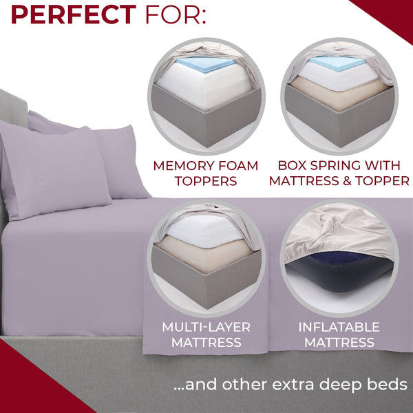 Extra Deep Pocket Microfiber Sheet Set (Light Colors)