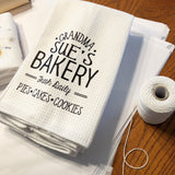 Dishtowel says Grandma Sue's Bakery- Fresh Daily- Pies, Cakes, Cookies
