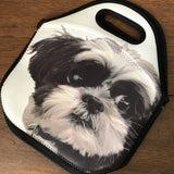 Neoprene Lunch Tote with a cute black and white dog photo sublimated on it