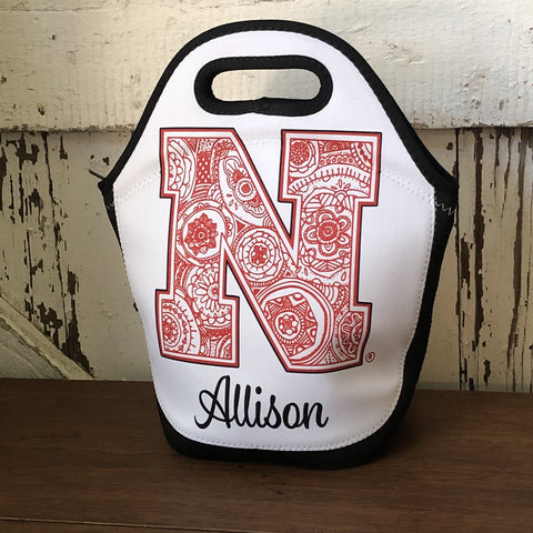 Black and White Lunch Bag with Red and White Zentangle Collegiate N and personalized with the name Allison
