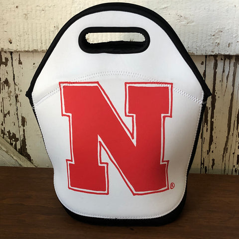 "Nebraska Cornhuskers Lunchtote, black and white lunch bag with a Red hand-drawn ""N"""