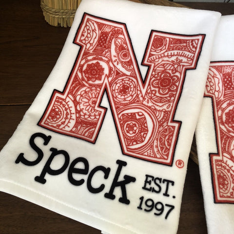 Nebraska Cornhuskers Zentangle/Mandala N Towel, personalized with a last name and established year.