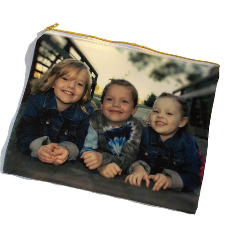 Canvas Cosmetic Bag with a gold zipper and a Photo of 3 Children Printed on it