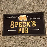 Personalized Pub Mat with Beers on it.