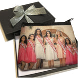 Small Neoprene zipper bag adorned with Miss California Pageant Contestants