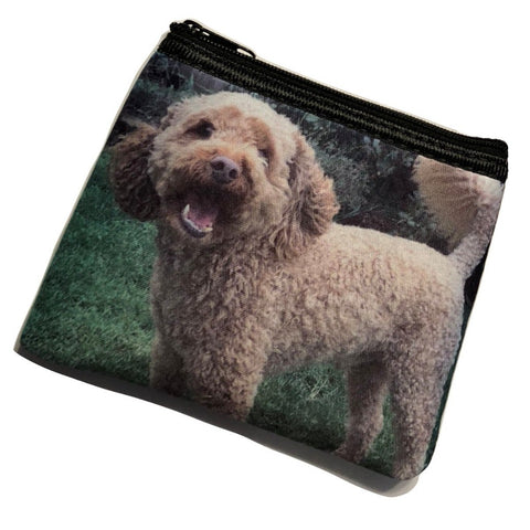 Dog Photo on a small zipper coin purse bag