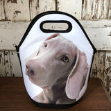 Black and white lunch tote with an adorable gray dog photo on it