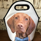 Black and White Lunch Tote with a Photo of a Red/Brown Weimaraner with a Cute Blue Bowtie