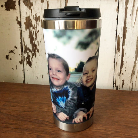 Stainless Steel Drink Tumbler with A Photo of Children printed on it.