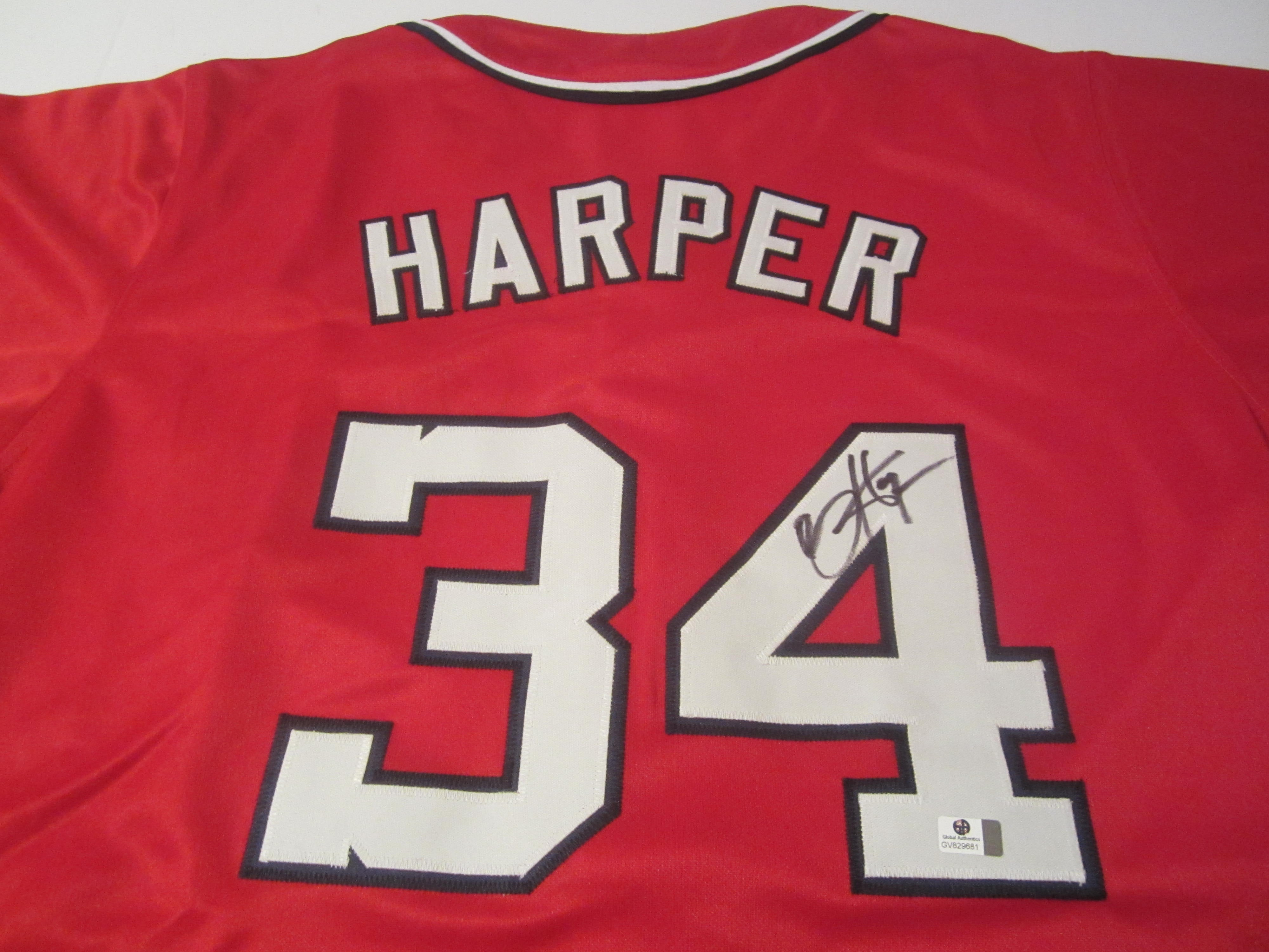 new style 18004 5e23f Bryce Harper Signed Washington Nationals Red Jersey / 2015 NL MVP / 5x All  Star (COA)