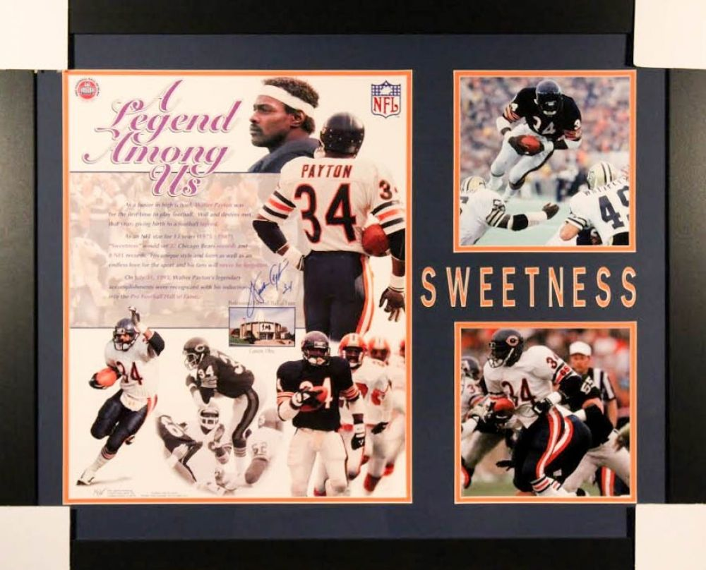 Walter Payton Signed Chicago Bears 27x33 Custom Framed Photo (Payton COA)