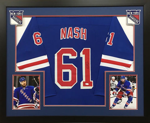Rick Nash Signed New York Rangers 36x44 Custom Framed Jersey (JSA Hologram)
