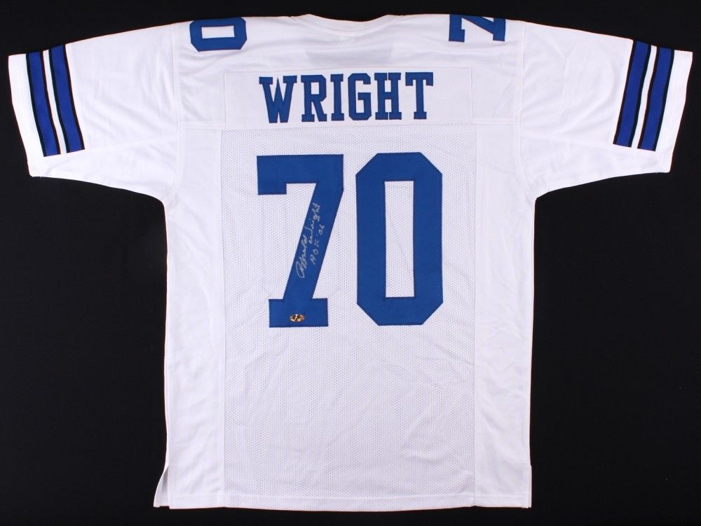 Rayfield Wright Signed Cowboys Jersey Inscribed HOF 06 (MAB) 2× Super Bowl Champ
