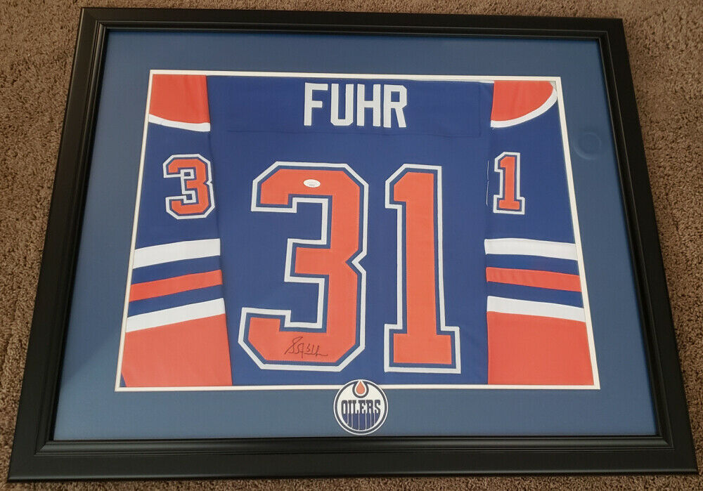 Grant Fuhr Signed Edmonton Oilers 30x36 Custom Framed Jersey Display (JSA COA)