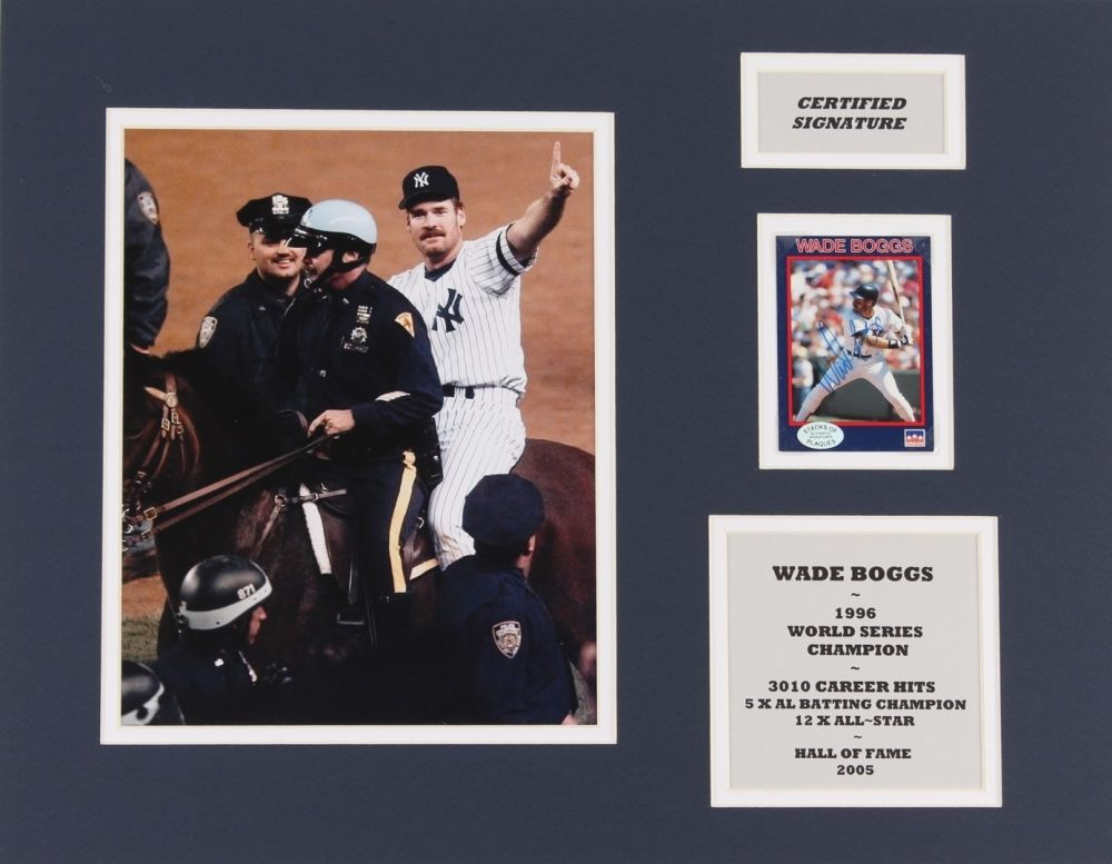 "Wade Boggs Signed 14"" x 18"" Custom Matted Baseball Card Display (SOP COA)"