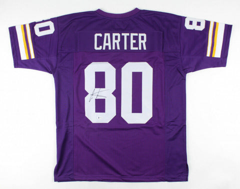 Cris Carter Signed Minnesota Vikings Jersey (Beckett) All He Does is Catch TD's