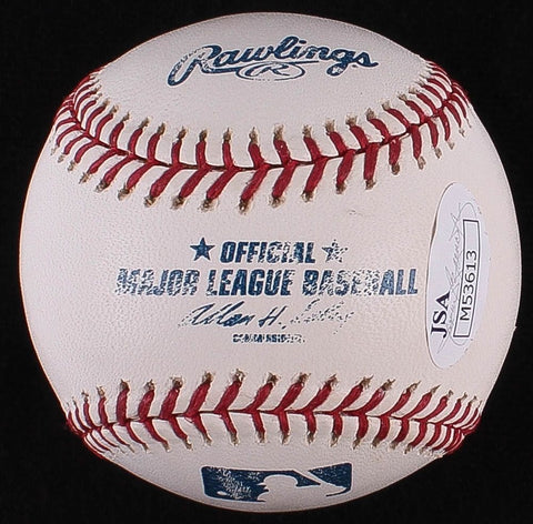 "Bob Feller Signed OML Baseball Inscribed ""HOF 61"" (JSA COA) 266 Wins / 2581 K's"