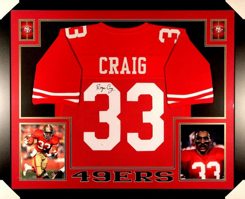 Roger Craig Signed 49ers 35x43 Custom Framed Jersey JSA COA 3x Super Bowl Champ