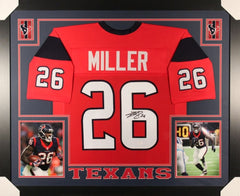 Lamar Miller Signed Texans 35x43 Custom Framed Jersey (JSA) Houston Running Back