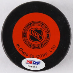 Jean Beliveau Signed Canadiens Hockey Puck (PSA) 500 Goal Club / 10x Cup Winner